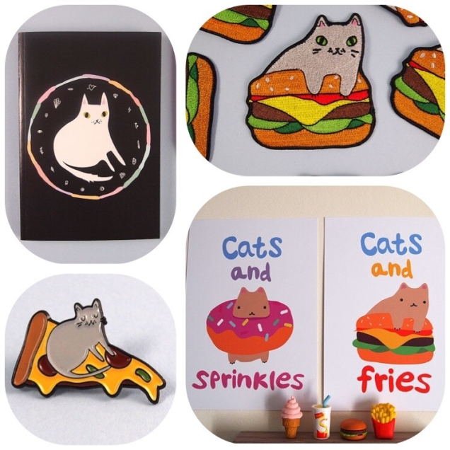 Shop-Etsy-I-Like-Cats-Food-Lover-Pizza-Donut-Fries-Burger