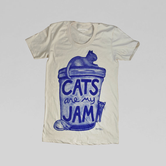 Shop-Etsy-Xenotees-Cat-Pun-Shirt-Cats-are-my-Jam
