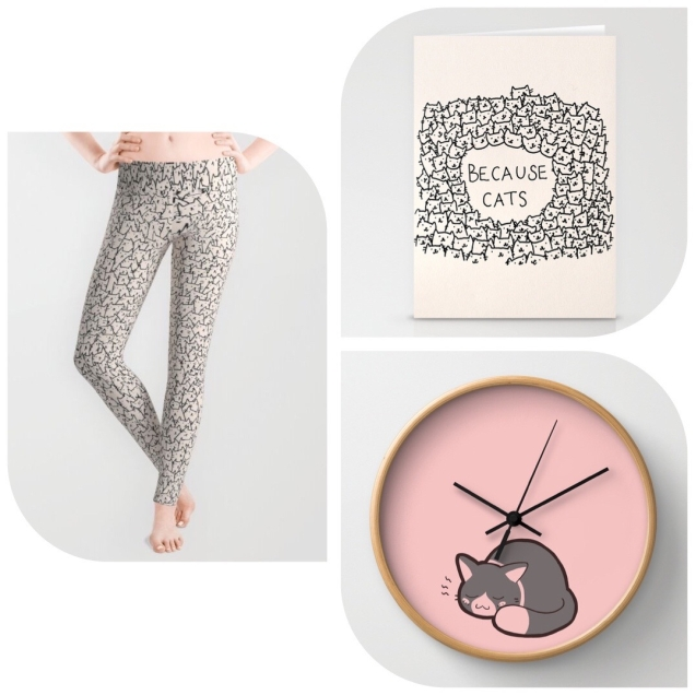 Shop-Society6-Kitty-Rain-Because-Cats-Leggins-Clock